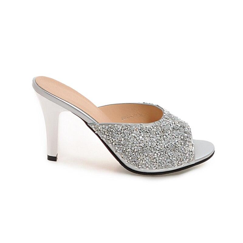 Doratasia Supérieure Femmes D'été Femme Sexy blanc Bling Toe Top Mules Pompes Qualité Grande 32 43 Argent Parti Chaussures Taille Peep F3TlK1Jc