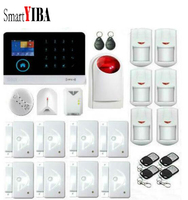 SmartYIBA App 3G RFID Security Alarm System+Glass Break Sensor Gas Leakage Motion PIR Alarm Strobe Siren Wireless Alarm Kits