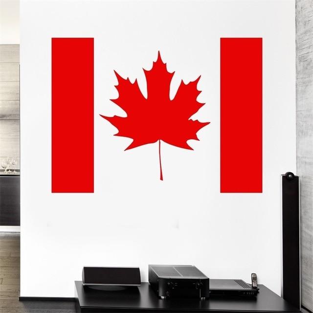 Canada Flag Wall Stickers Symbol Maple Leaf Wall Decor Mural Vinyl