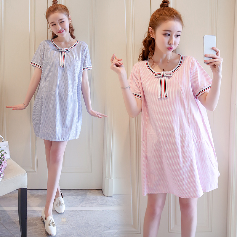 2018 Pregnancy Dress Maternity Clothes Summer New Striped Short Sleeve Casual Pregnant Women Dress Fashion Loose Large Size Bow