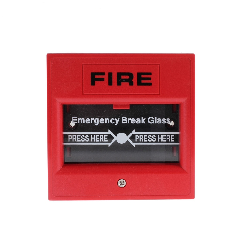 (1 PCS) Fire Control Button Break Glass to Alarm Red color Alarm system accessrioes NC/NO options Panic button switch wireless vibration break breakage glass sensor detector 433mhz for alarm system