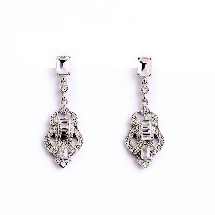 Silver earrings brand style new design art deco inspired bling pave crystal geometric chandelier Design and style fashion jewelry