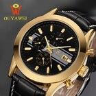 ★  Мужские часы Top Luxury Мужские наручные часы Бизнес механические часы Ouyawei Часы с кожаным ремешк ✔