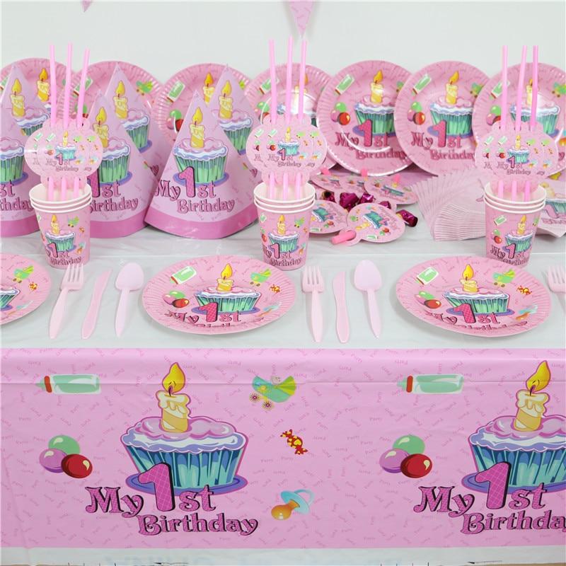 BIRTHDAY GIRL 1ST BIRTHDAY TABLEWARE Baby Girls Birthday Party Napkins Plates