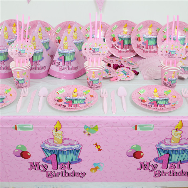 61pc 20 people Pink 1st birthday party paper plate cups/glass napkin banner baby girl  sc 1 st  AliExpress.com & 61pc 20 people Pink 1st birthday party paper plate cups/glass napkin ...