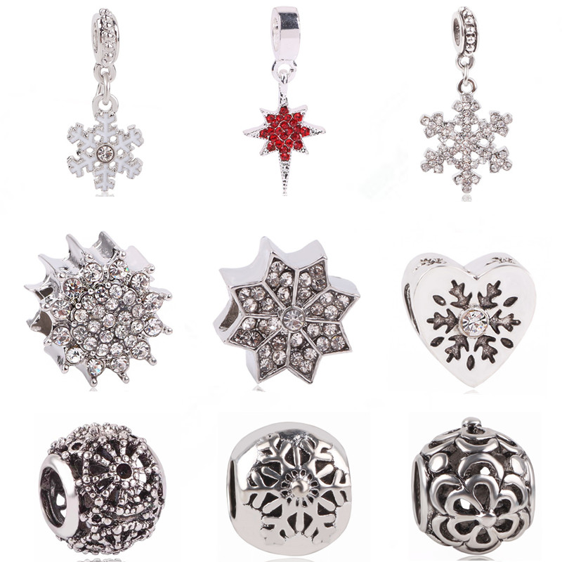 Ranqin Original Fashion European Charm Snow Bead Pendant Series Fit Pandora Charms Bracelets DIY Women Jewerly