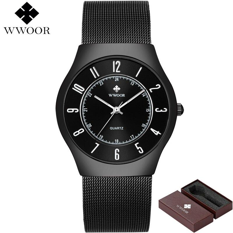 Image 2 - WWOOR Top Brand Luxury Men Ultra Thin Waterproof Sports Watches Men's Quartz Wrist Watch Male Slim Black Clock relogio masculino-in Quartz Watches from Watches