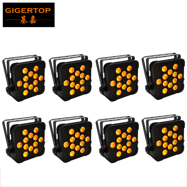 TP-G3045-5IN1 12x15W RGBWA 5IN1 Flat Led Par Light Black Iron Painting  DMX512, Master/slave, Auto, Sound Active Disco/Party