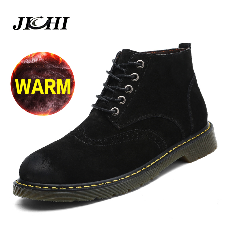 Brand Super Warm Men Boots Winter Leather Boots Waterproof Rubber Snow Boots England Retro Ankle Boots for Men Winter Shoes new men winter boots plush genuine leather men cowboy waterproof ankle shoes men snow boots warm waterproof rubber men boots page 10