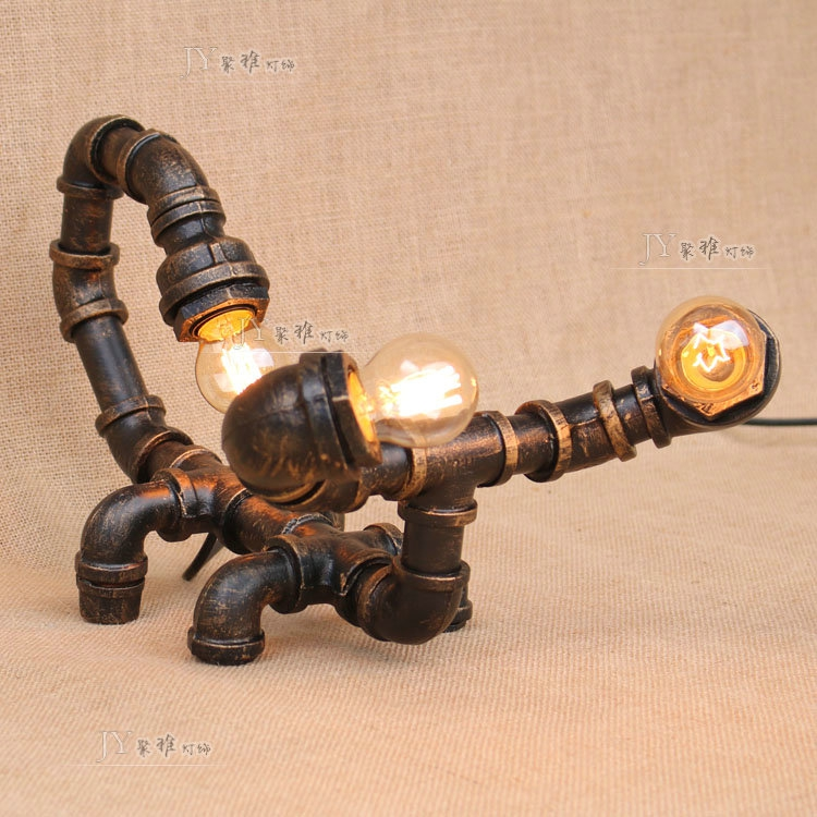 Water pipes industrial wind iron lamp bedroom living room desk lamp library reading retro scorpion pipe lamp Table Lamps SG5 art deco industrial iron butterfly retro water pipe table lamp e27 desk lights reading lamps night light for living room bedroom