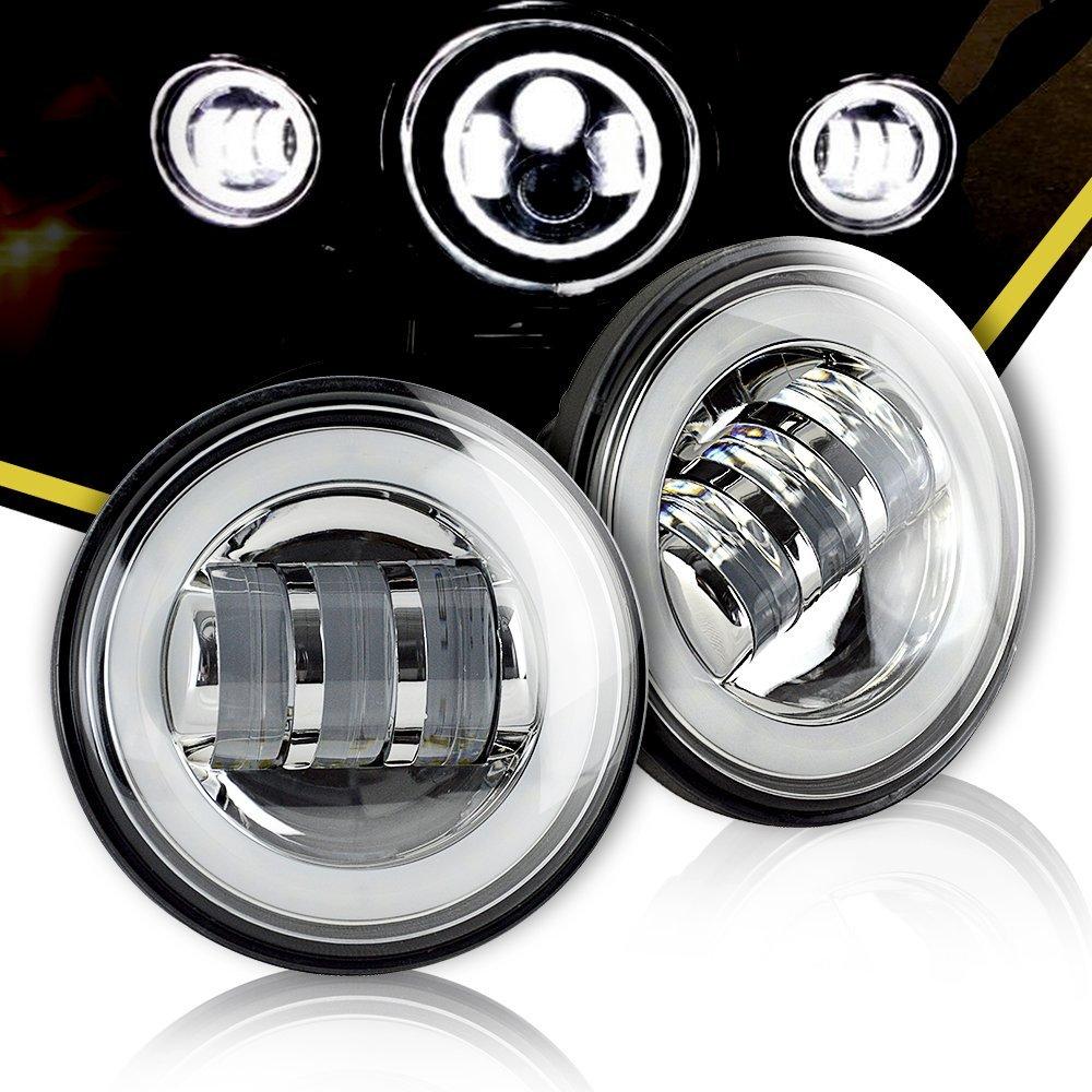 4.5 Inch Round Led Fog Lamps Chrome Passing Lamp White Angel Eyes DRL Halo 10V-30V 4.5