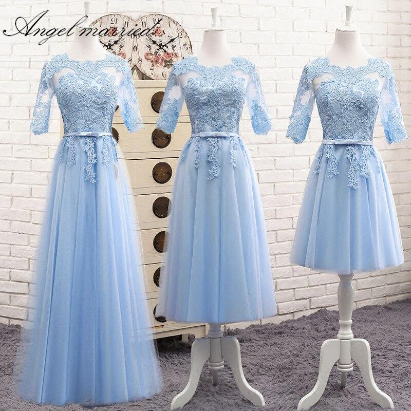 Angel married   bridesmaid     dresses   appliques lace half sleeve wedding party   dress   junior wedding guest   dress   vestido de festa 2018