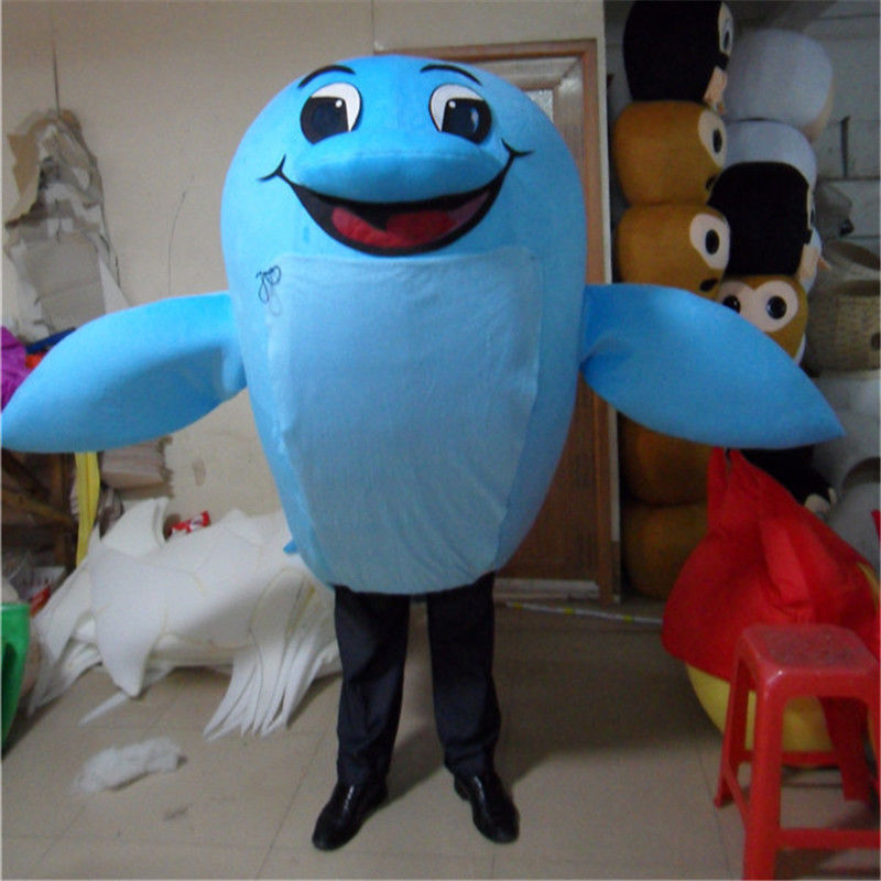 Sky Blue Dolphin Adult Mascot Costume Suits Cosplay Party Game Dress Outfits Clothing Advertising Carnival Halloween Christmas