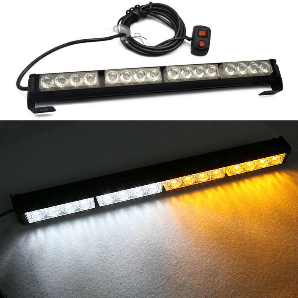 CYAN SOIL BAY 16 LED Amber&White Emergency Warning Light Bar Traffic Advisor Strobe Flash Lamp Yellow Flashing