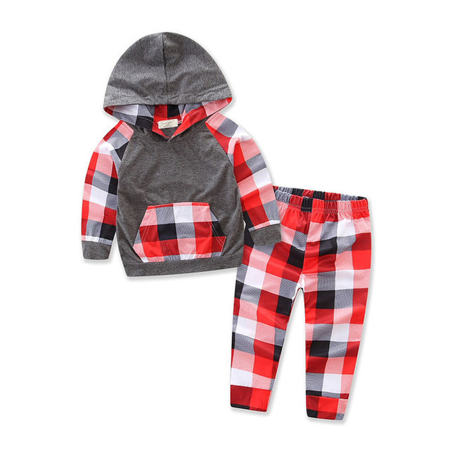 18M-4T Boys Clothing Sets Plaid Hoodie + Trousers Clothes for Boys Two Piece Kids Clothes Sets 2018 Autumn Children Clothing