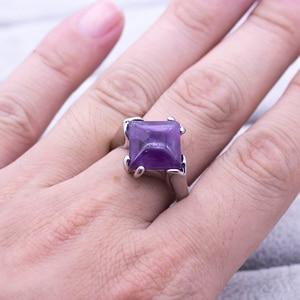 Image 5 - 20 ピース/ロット混合スタイルナチュラル紫水晶石リング 2018 新ファッション女性のジュエリー