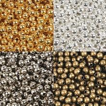 1000/500/300 шт 2,4/3,2/4,0 мм золото/серебро/бронза металл бисер гладкий шар бусины для изготовления ювелирных изделий