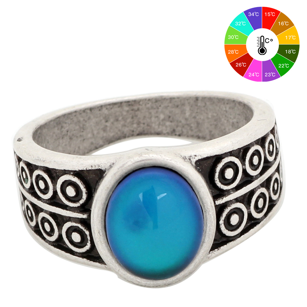 Mojo Vintage Bohemia Retro Color Change Mood Ring Emotion Feeling Ring cambiable Anillo de control de temperatura para mujeres MJ-RS007