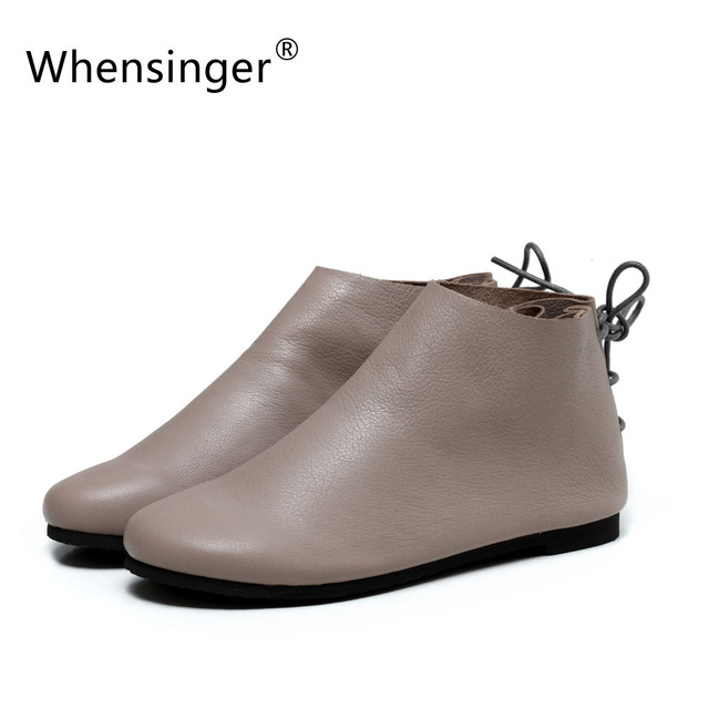Whensinger - 2017 New Spring Women Boots Genuine Leather Fashion Round Toe Shoes Rubber Sole  F039