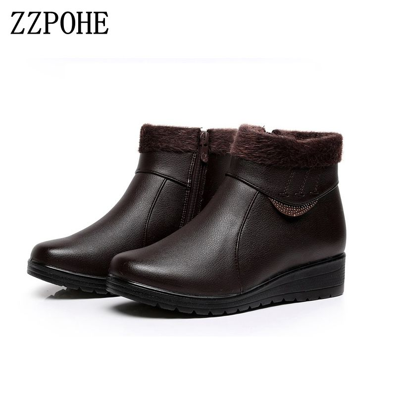 ZZPOHE 2017 New Winter Fashion Women Genuine Leather Wedges Ankle Boots Female Plus Velvet Flat Snow Boots Mother cotton shoes free shipping women fashion winter shoes genuine leather ankle boots wedges female winter working boots plus size 34 41