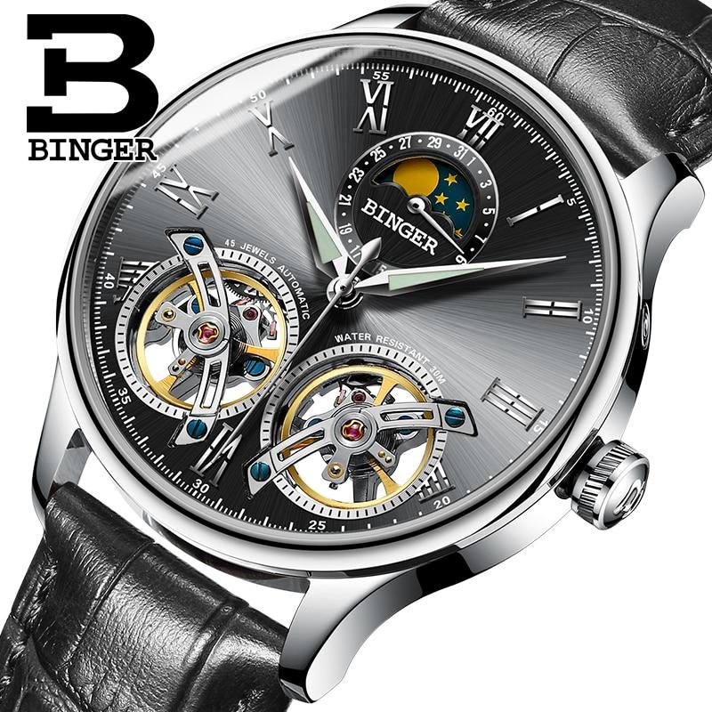 Швейцария Механические Для мужчин часы Бингер роль Элитный Бренд Скелет наручные сапфир Водонепроницаемый часы Для мужчин часы мужской reloj...