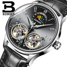 Suiza Relojes de Los Hombres Mecánicos Función de Lujo Binger Marca Esqueleto Reloj de Pulsera de Zafiro A Prueba de Agua Hombres Reloj Masculino reloj hombre
