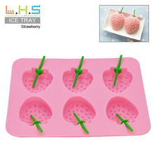 Hot Sale 6 Grids Sweet Strawberry Shape Ice Cream Mould Practical Home Made Cube DIY TPR Popsicle Makers Homemade Supplies