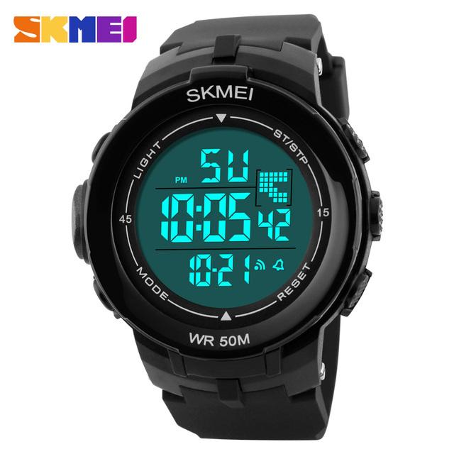 2017 skmei marca hombres deportes relojes 50 m impermeable moda casual digital led reloj militar multifunción de pulsera nuevo