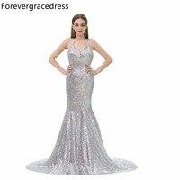 Forevergracedress Zilver Pailletten Avondjurk Sexy Halter Mouwloze Backless Lange Formele Party Gown Plus Size Custom Made