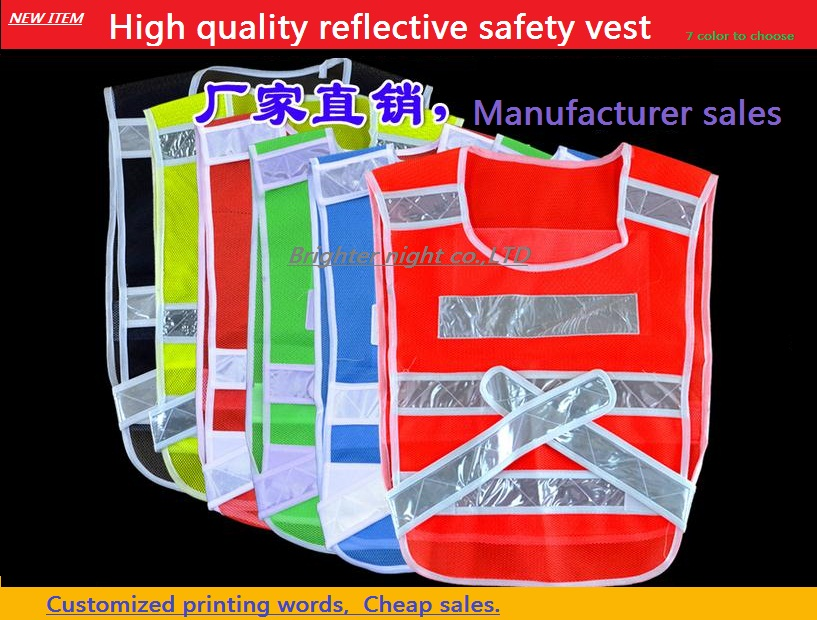 Breathable fluorescent mesh fabrics reflective safety vest cycling work adjustable size vest printable new style breathable mesh high visibility reflective traffic safety cycling vest printable words logo