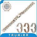 Faixa de Relógio de Aço inoxidável + Ferramenta para Pebble Tempo Rodada 14mm Mulheres Borboleta Cinto de Fivela Correia de Pulso Pulseira em Ouro Rosa prata