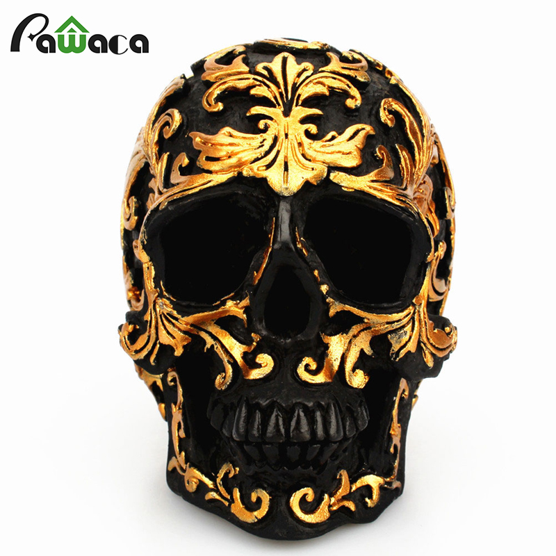 Resina artesanía calavera negra cabeza dorada tallada en Halloween fiesta decoración escultura de cráneo ornamentos decoración del hogar Accesorios