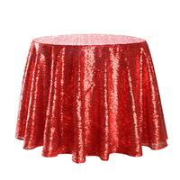 Sparkle Round Sequin Tablecloth Table Cover Wedding Party Banquet Red 300/280/240/200/180cm Extensive attractive