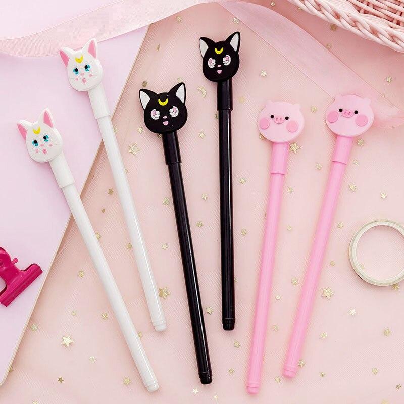 1PC Cute Moon Cat Pens 0.38mm Gel Pens Kawaii Neutral Pens For Kids Girls Gift School Office Supplies Novelty Stationery