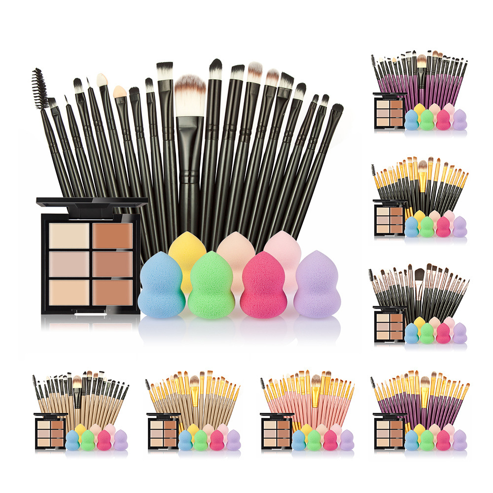 makeup brushes Set 6 Colors Concealer Palette maquiagem Puff 20 brushes Face Contour Cosmetic Make Up Tools Brushes for make-up new makeup brushes black aluminum retractable blush brush make up professional tools nice gift for you maquiagem face concealer