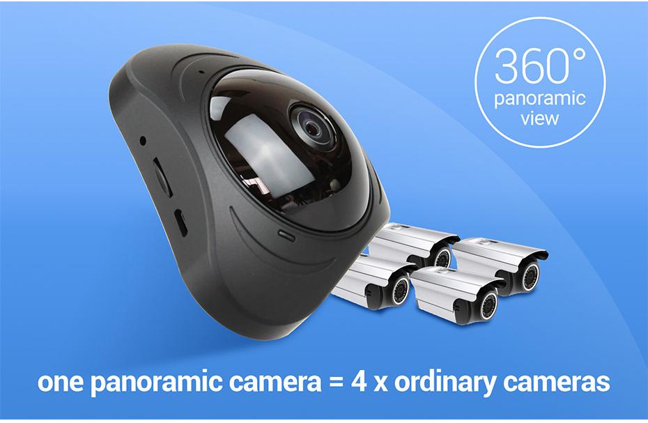 H.VIEW 360 CCTV Camera 720P IP Camera Wifi Cameras 960P Camara IP 1200TVL Fisheye Video Surveillance Cameras (8)