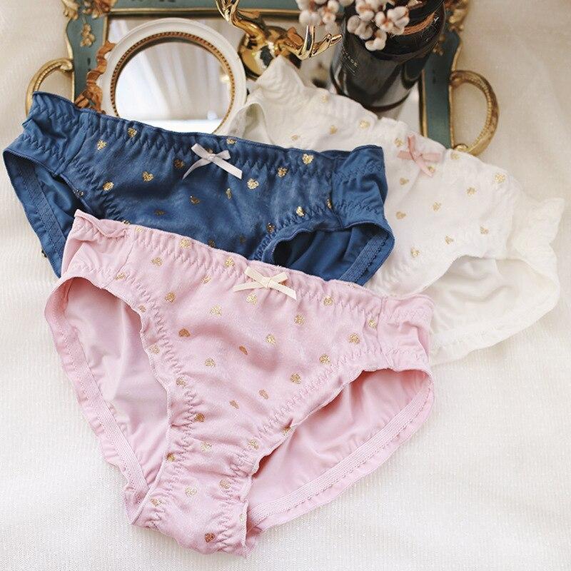 9b813ac776 Hot Stamping Heart Print Milk Silk Girl Panties Middle Waist Cute Lovely  Sweety Style Women Underwear