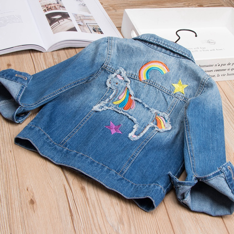 2018 Spring Autumn Girls Denim Jacket Children Jeans Jacket Rainbow Unicorn Embroidered Kids Denim Coat For