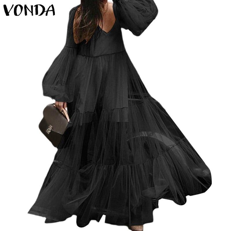 Элегантный однотонный винтажный комбинезон VONDA летнее платье пляжный костюм с длинным рукавом Vestidos Высокая талия вечернее платье Femme сексу...