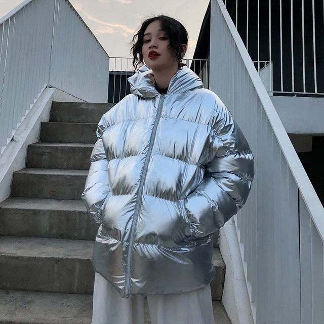 NiceMix 2019 winter streetwear women's top new fashion oversized down jacket harajuku laser hooded cotton jackets silver coat