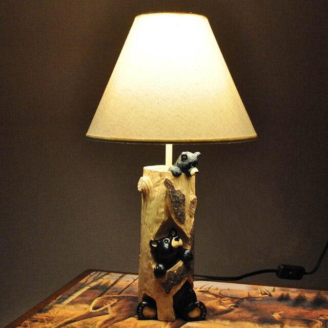 Lovely Schlafzimmer Lampe Stoff 2 #4: Moderne 2 Harz Bears Kinder Schlafzimmer Tischleuchten Nette Weiße Stoff  Lampenschirm Arbeitszimmer Kinder Schreibtisch Beleuchtung Lampen