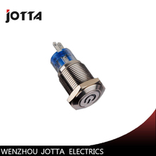 GQ16F-11DP 16mm momentary LED light Luminous power logo metal push button switch with flat round