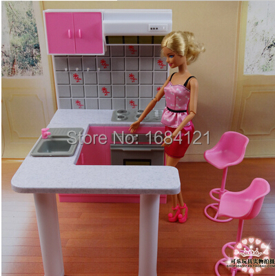 Free Shipping Girl birthday gift plastic Play Set Furniture Kitchen accessories for barbie doll,girls play house,girls gifts free shipping new arrival christmas birthday gift children play set doll furniture living room tv accessories for barbie doll