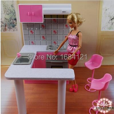 купить Free Shipping Girl birthday gift plastic Play Set Furniture Kitchen accessories for barbie doll,girls play house,girls gifts недорого