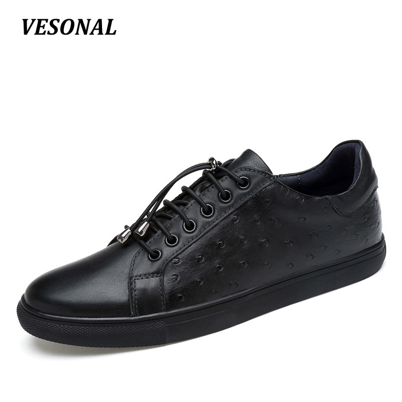 VESONAL Mens Shoes Male Footwear men casual shoes Luxury Brand Genuine Leather Flat Fashion Designer Breathable SDA17221 2017 italy new brand designer golden genuine leather casual men shoes goose all sport star breathe shoes footwear zapatillas