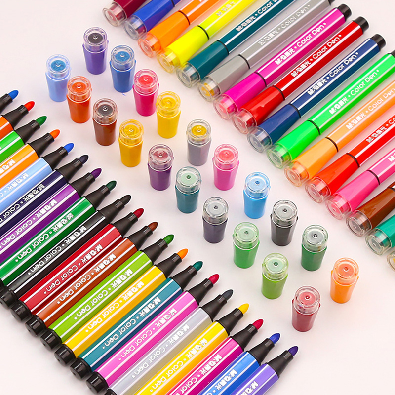 1 Set Dual Head Kids Washable Drawing Water Color Pens With Stamp Birthday Party Gift Decoration Back To School Party Present