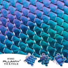 Iridescente fantasia de sereia com laser brilhante, tecido diy holograma spandex com 4 formas de tecido elástico para saia cauda roupa de banho