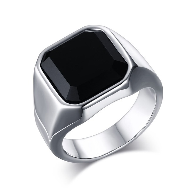 Fashion Mens Signet Rings Stainless Steel Band with Black Stone Inlay Ring for M