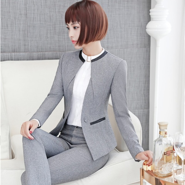 Elegant Grey Formal Blazers OL Styles Autumn Winter Jackets Coat For Ladies Office Outwear Female Tops Clothes Plus Size 4XL 1