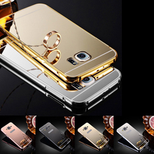 Luxury Mirror Metal Case For Samsung Galaxy S6 S6 edge S7 S7 Edge G530 J1 J5 J7 2016 Acrylic Hybrid Aluminum Gold Frame Cover ['(China)